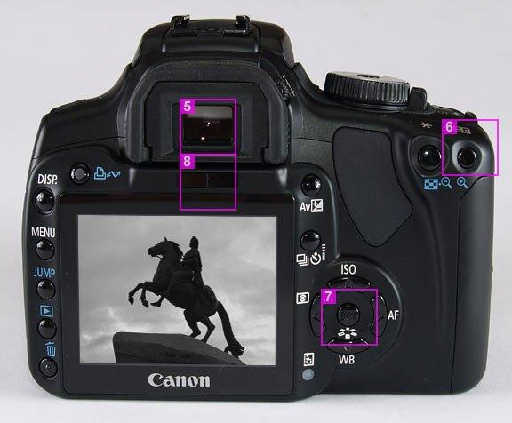 Canon EOS 400D - back