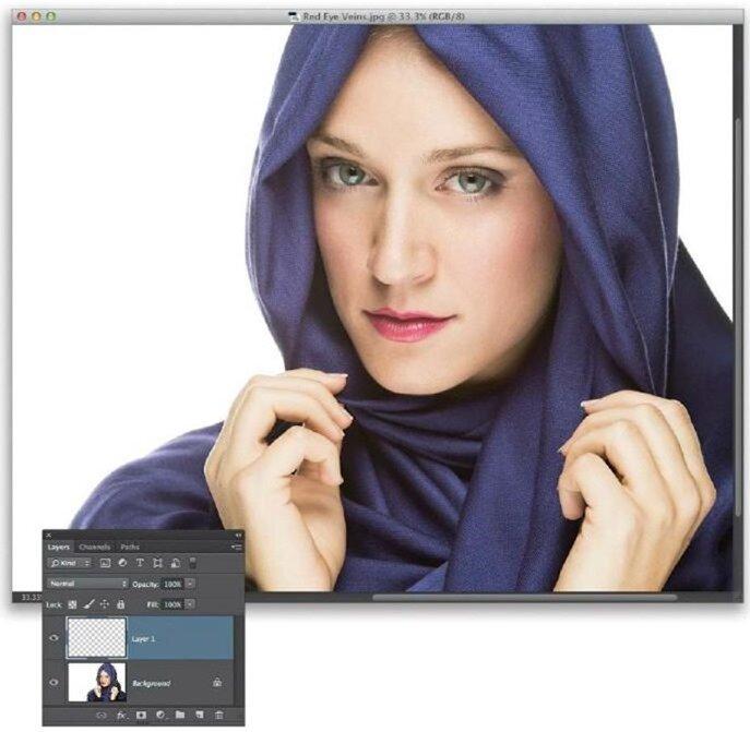 Удаление глазных капилляров в Photoshop