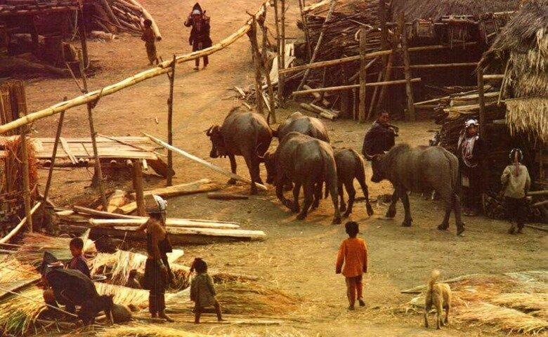 Деревня акха на границе